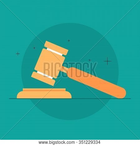 Judge Or Auction Hammer. Wooden Gavel Used For Verdict