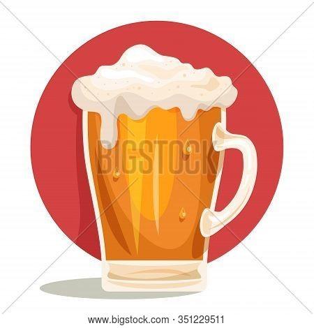 Glass Mug Of Light Beer With Foam Drink. Big Vintage Mug