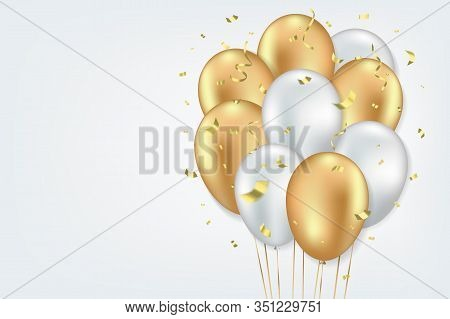 Festive Gorizontal Background. White And Golden Balloons And Gold Sparkles And Glitter Confetti On G