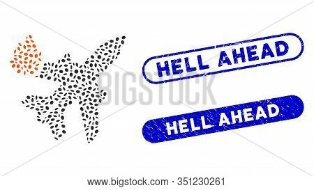 Mosaic Airliner Fire And Grunge Stamp Seals With Hell Ahead Phrase. Mosaic Vector Airliner Fire Is F