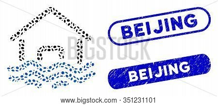 Mosaic Flood Disaster And Corroded Stamp Seals With Beijing Text. Mosaic Vector Flood Disaster Is Cr