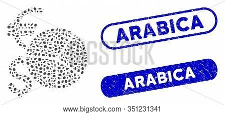 Collage Currency Pie Chart And Rubber Stamp Seals With Arabica Phrase. Mosaic Vector Currency Pie Ch