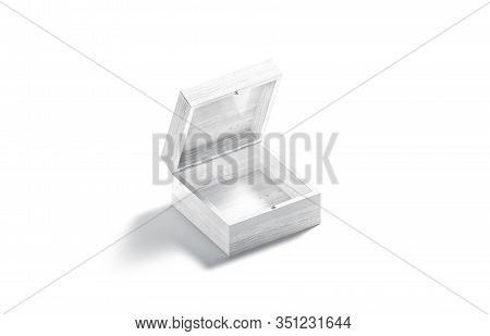 Blank White Opened Wood Gift Box Mockup, Side View, 3d Rendering. Empty Wooden Casket For Jewellery