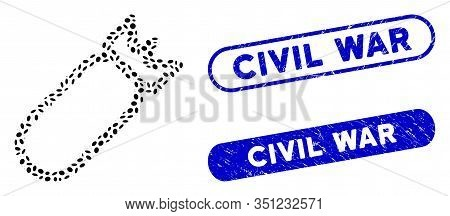 Mosaic Bomb And Distressed Stamp Watermarks With Civil War Phrase. Mosaic Vector Bomb Is Composed Wi