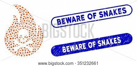 Mosaic Hell Fire And Grunge Stamp Seals With Beware Of Snakes Text. Mosaic Vector Hell Fire Is Compo