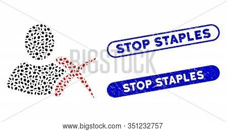 Mosaic Erase And Distressed Stamp Seals With Stop Staples Phrase. Mosaic Vector Erase Is Created Wit