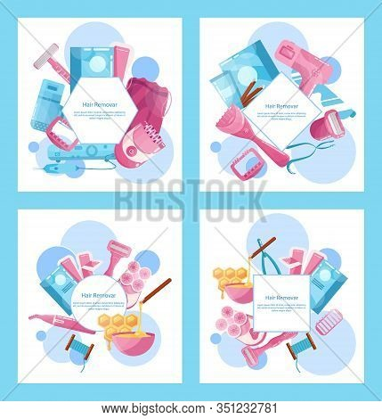 Hair Removal Tool Set. Wax Strips With Soft Wax