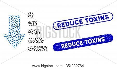 Mosaic Sort Down And Rubber Stamp Watermarks With Reduce Toxins Phrase. Mosaic Vector Sort Down Is C