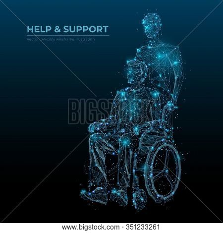 Abstract Help And Support Low Poly Wireframe Technology Banner Vector Template. Disabled People Care