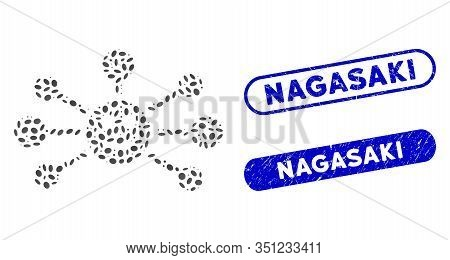 Mosaic Smile Links And Corroded Stamp Seals With Nagasaki Phrase. Mosaic Vector Smile Links Is Desig
