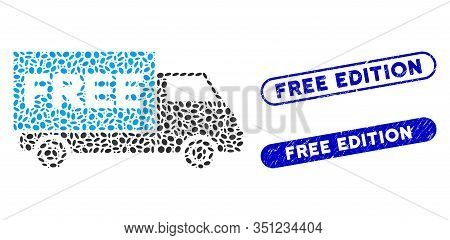 Mosaic Free Shipment Van And Distressed Stamp Seals With Free Edition Caption. Mosaic Vector Free Sh
