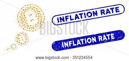 Mosaic Bitcoin Inflation And Rubber Stamp Seals With Inflation Rate Text. Mosaic Vector Bitcoin Infl