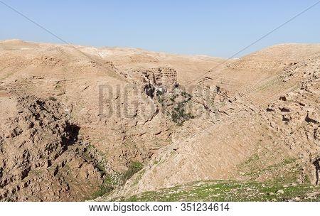 Jericho, Israel, January 25, 2020 : The Monastery Of St. George Hosevit - Mar Jaris - Standing Near