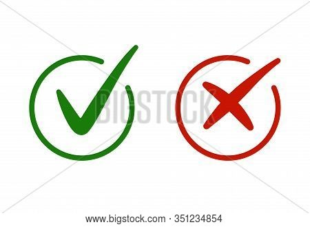 Correct, Incorrect Sign. Right And Wrong Mark Icon Set. Green Tick And Red Cross Flat Simbol. Check