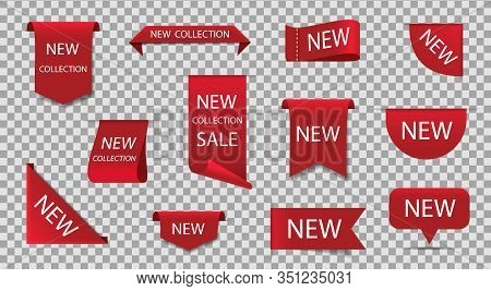 New Label For Sale. Price Tag, Sticker, New Badge On Isolated Background. Red Premium Stamp. Origina