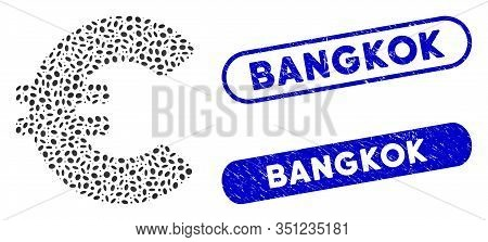 Mosaic Euro And Distressed Stamp Seals With Bangkok Text. Mosaic Vector Euro Is Created With Scatter