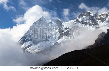 Beautiful White Mount On Salkantay Trek In The Way To Machu Picchu, Cuzco Area In Peruvian Andes