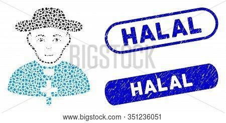 Mosaic Catholic Shepherd And Grunge Stamp Seals With Halal Phrase. Mosaic Vector Catholic Shepherd I