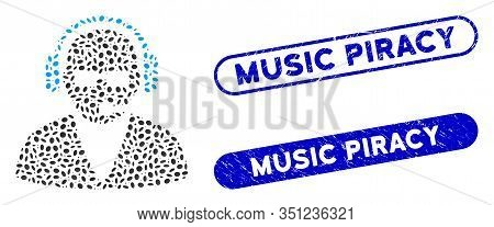 Mosaic Support Operator And Rubber Stamp Seals With Music Piracy Caption. Mosaic Vector Support Oper