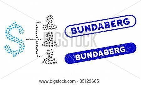 Mosaic Money Recipients And Rubber Stamp Watermarks With Bundaberg Phrase. Mosaic Vector Money Recip