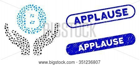 Mosaic Bitcoin Support Hands And Grunge Stamp Seals With Applause Caption. Mosaic Vector Bitcoin Sup