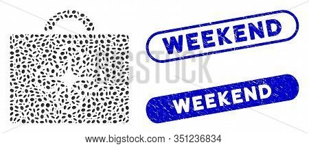 Mosaic Drone Toolcase And Grunge Stamp Watermarks With Weekend Text. Mosaic Vector Drone Toolcase Is