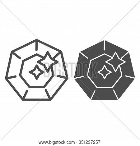 Smaragd Line And Glyph Icon. Gemstone Vector Illustration Isolated On White. Jewelry Outline Style D
