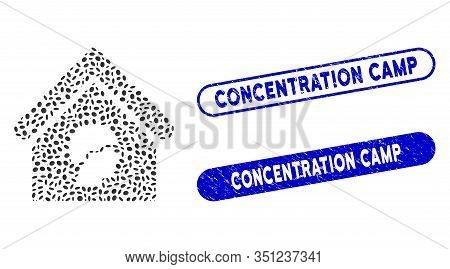 Mosaic Barrack Building And Rubber Stamp Seals With Concentration Camp Phrase. Mosaic Vector Barrack