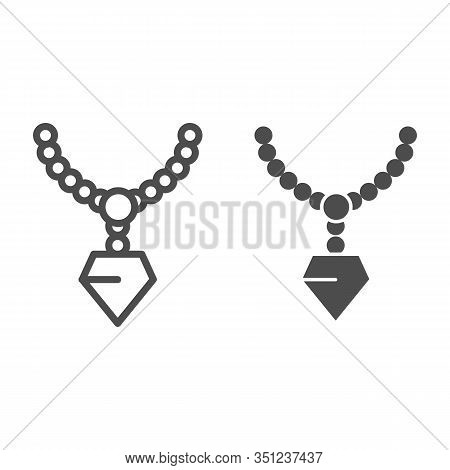Pendant With Gemstone Line And Glyph Icon. Chain With Pendant Vector Illustration Isolated On White.