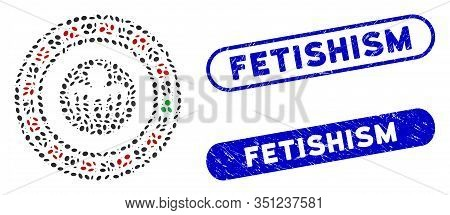 Mosaic Spectre Casino And Grunge Stamp Seals With Fetishism Phrase. Mosaic Vector Spectre Casino Is