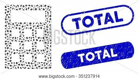 Mosaic Calculator And Rubber Stamp Seals With Total Phrase. Mosaic Vector Calculator Is Designed Wit