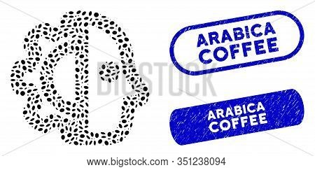 Mosaic Cyborg And Distressed Stamp Seals With Arabica Coffee Caption. Mosaic Vector Cyborg Is Design