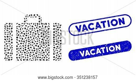 Mosaic Baggage And Grunge Stamp Seals With Vacation Caption. Mosaic Vector Baggage Is Composed With