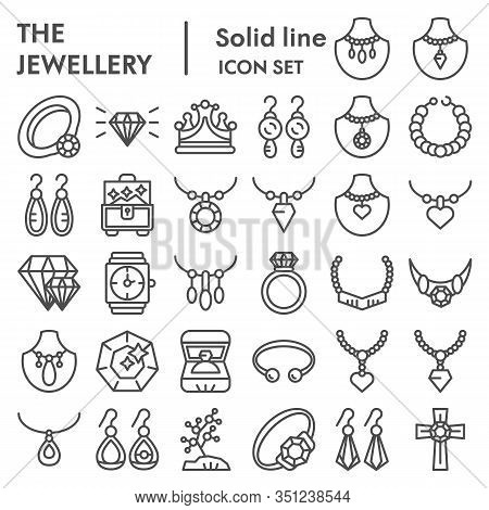 Jewellery Line Icon Set, Accessories Symbols Collection, Vector Sketches, Logo Illustrations, Bijout