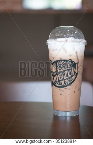Bangkok, Thailand - February 17, 2020: Ice Coffee Of Amazon Brand On A Table At Amazon Cafe. Cafe Am