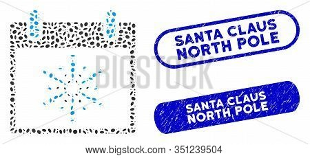 Mosaic Fireworks Boom Calendar Day And Rubber Stamp Seals With Santa Claus North Pole Caption. Mosai