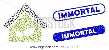 Mosaic Greenhouse And Distressed Stamp Seals With Immortal Phrase. Mosaic Vector Greenhouse Is Compo