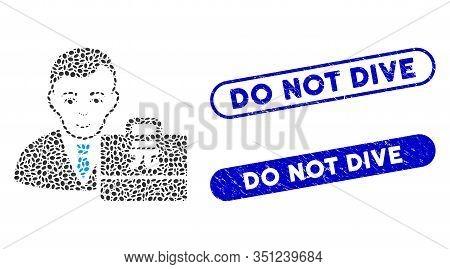 Mosaic Yuan Renminbi Accounter And Distressed Stamp Seals With Do Not Dive Text. Mosaic Vector Yuan