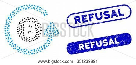 Mosaic Bitcoin Chargeback And Corroded Stamp Seals With Refusal Phrase. Mosaic Vector Bitcoin Charge
