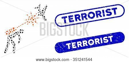 Mosaic Terrorist Strikes Aircraft And Distressed Stamp Seals With Terrorist Text. Mosaic Vector Terr