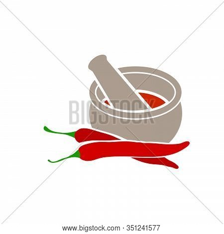 Mortar And Pestle With Mortar And Pestle With Chili Peppers
