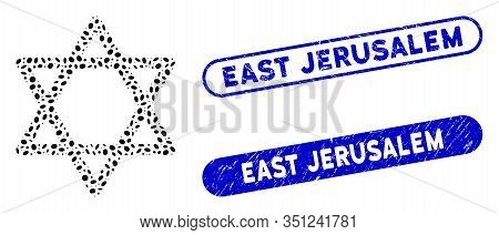 Collage Star Of David And Rubber Stamp Seals With East Jerusalem Text. Mosaic Vector Star Of David I