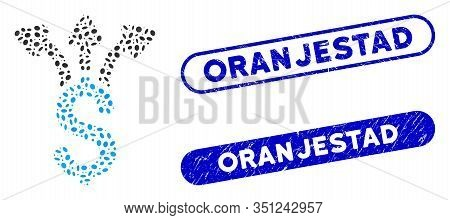 Mosaic Share Money And Grunge Stamp Seals With Oranjestad Phrase. Mosaic Vector Share Money Is Creat