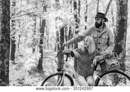 Ideas For Perfect Autumn Date. Romantic Date With Bicycle. Bearded Man And Woman Relaxing In Autumn