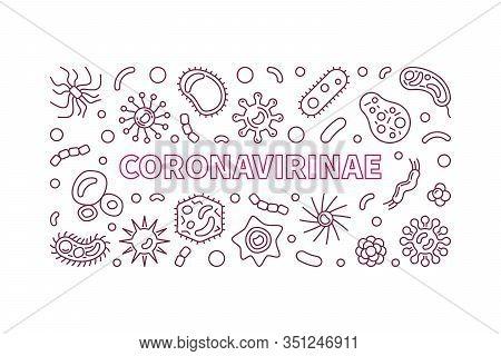 Coronavirinae Vector Concept Outline Horizontal Illustration Or Banner