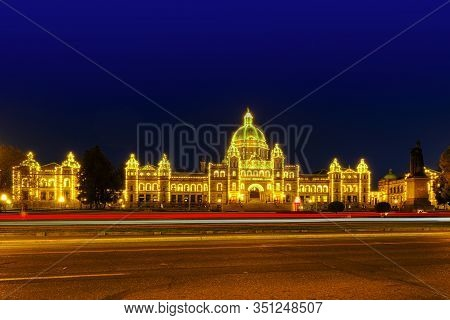 Victoria, May 08 2019: Downtown Victoria Bc, Canada.victoria Parliament Building At Night , Long Exp