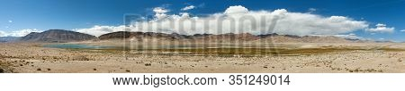 Beautiful Landscape Panorama Of Pamir Mountains Area In Tajikistan. Lake. Pamir Highway