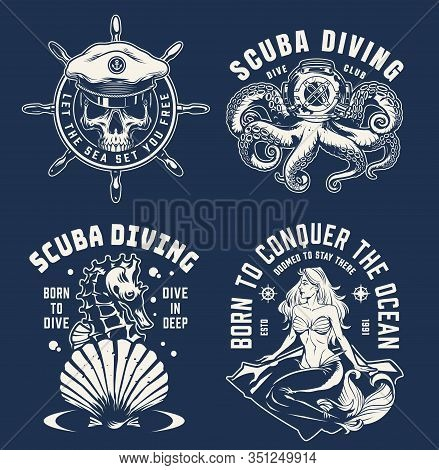 Vintage Monochrome Marine Logotypes With Pretty Mermaid Rudder Skull In Sea Captain Hat Seahorse Oct