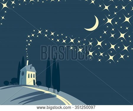 Decorative Night Landscape With A Lonely Village House On A Hill Against A Starry Sky With New Moon.