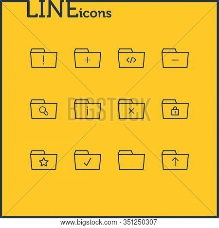 Vector Illustration Of 12 Document Icons Line Style. Editable Set Of Significant, Folder, Locked And